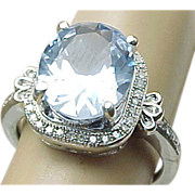Sterling Silver 3.00 Carat Blue Topaz & Diamond Ring Circa 1980's