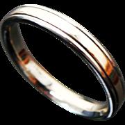 14K Two Tone Gold Beveled Wedding Band