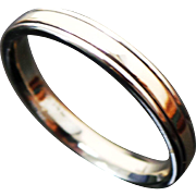 14K Two Tone Gold Beveled Wedding Band