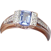 Vintage 14K White Gold .75 Carat Tanzanite & Diamond Ring