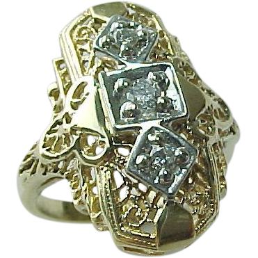 Katrina Rawlinson Elongated 14 K Yellow Gold Filigree Diamond Ring
