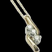 Beautiful 14 K Yellow Gold, .50 Karat Diamond Past,Present, Future Pendant/Necklace