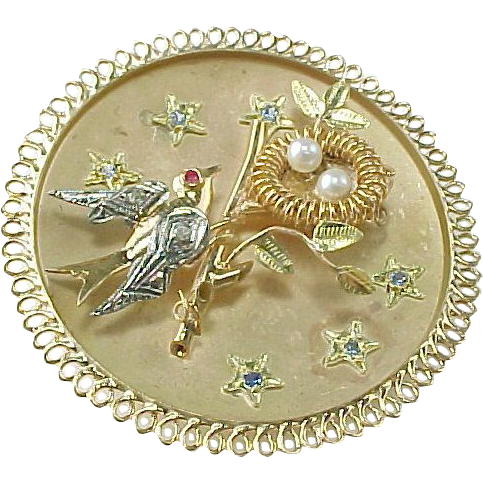 SOLD EBAYS Vintage Two Tone 14 K Birds Nest Large Pendant / Brooch ~ Diamond, Ruby, Sapphire, Pearl
