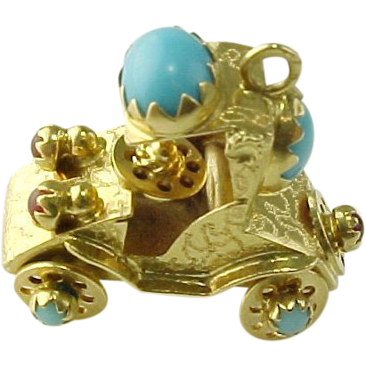 Vintage 18 K Gold  Persian Turquoise And Ruby Movable Antique Car Pendant/Charm