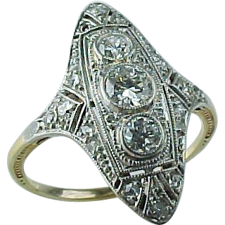 Art Deco Two Tone 18k & Platinum Diamond Ring ~ 3/4 CTW