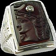 Art Deco Carnelian Intaglio Ring 10 K White Gold