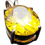 Sterling Silver 5.00 Carat Faux Yellow Diamond Solitaire Pendant