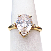 14K Yellow Gold 5.00 Carat Pear Shape Faux Diamond Engagement Ring