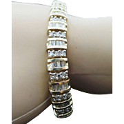 14K Yellow Gold 5.00 Carat Baguette & Round Diamond Bracelet