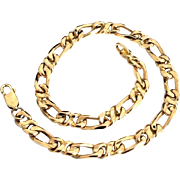 Handcrafted Solid 14 Karat Yellow Gold 5.5mm Infinity Link Figaro Bracelet