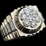 Vintage 14 Karat Yellow and White Gold 5/8 Carat Diamond Rolex Ring