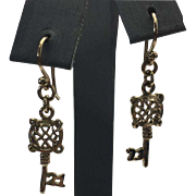 "Sterling Silver Gold Vermeil Key ""21"" Earrings"