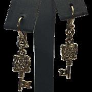 """Sterling Silver Gold Vermeil Key """"21"""" Earrings"""