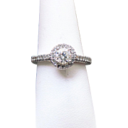 14K White Gold 5/8 TCW Halo Engagement Ring