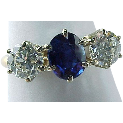 Vintage Three Stone Genuine Oval Sapphire and Diamond Ring ~  2 CTW