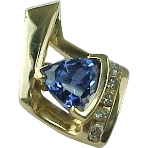Luxurious Vintage 2.00 Carat Trillion Cut Ceylon Blue Sapphire And Diamond Slide Pendant