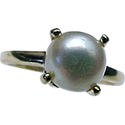 10K Yellow Gold 6 mm White Cultured Pearl Ring