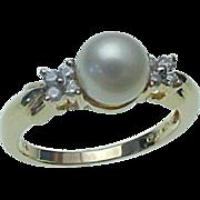 Vintage 10K Yellow Gold 6 mm Akoya Pearl & Diamond Ring