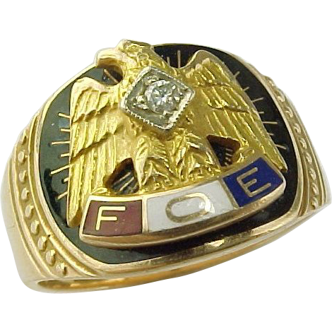 Fraternal Order of Eagles 10 K Gold Diamond Ring