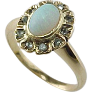 Late 1800's  Stunning Opal & Rose Cut Diamond Ring