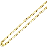 "Italian Solid 14 Karat Yellow Gold 7mm Curb Link 28"" Chian Necklace"
