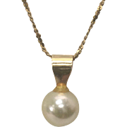 14 K Yellow Gold 7 mm White Cultured Pearl Necklace