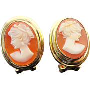 800 Silver Vermeil Carved Shell Cameo Clip On Earrings