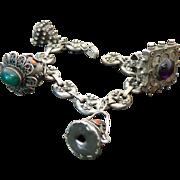 Massive FOB Italian 800 Silver Carnelian, Amethyst, Jadite Charm Bracelet Vintage