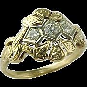 Classic Victorian Style 14 Karat Yellow Gold & Diamond Ring