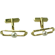 Vintage 14 Karat Mikimoto Pearl Golf Club Cufflinks, SOLID 14K YELLOW GOLD