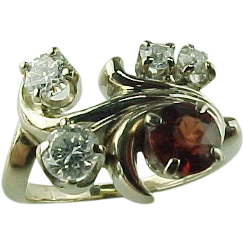 Vintage Modernist 14 K White Gold  3/4 Carat Diamond &1/2 Carat Garnet Ring