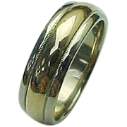 14K Two Tone 8 mm Wide Wedding Band