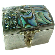 Vintage Sterling Silver Mexico Abalone Pill/Trinket Box.