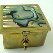 Mexico, Taxco Brass inlaid Abalone Trinket Box