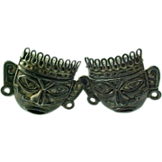 Vintage Sterling Silver Mexico Myan Gods Cuff Links