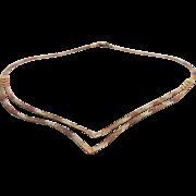 Vintage Tri Gold 9 K Double Herringbone V Necklace