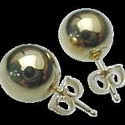 14K Yellow Gold 9 mm Gold Ball Pierced Post Earrings