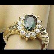 Vintage .80 Carat Oval 10K Lab Grown Alexandrite & .25 Carat Spinel Ring
