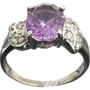 Vintage Handcrafted 14 Karat White Gold 3.00 Carat Amethyst & Diamond Accented Ring.