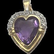 14 K Yellow Gold Amethyst & Diamond Heart Pendant