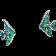 Vintage Sterling Silver Created Opal Angel Fish Earrings
