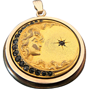 Art Nouveau Womans Face Gold Filled Rhinestone Locket