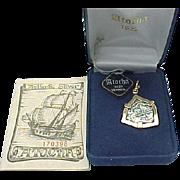 Sterling Silver Gold Vermeil Atocha 8 Reales Spanish Galleon Sunken Treasure / Shipwreck Coin Pendant in original Box and COA