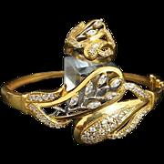 Stunning Handmade 21 Karat Yellow Gold Quartz Diamond Hinged Bangle Bracelet & Ring Cocktail Set.