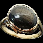 14 K Yellow Gold Black/Gray Cats Eye Ring