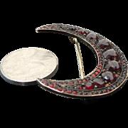 Antique Bohemian Rose Cut Garnet Crescent Moon Brooch