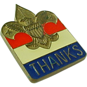 "Vintage Enameled ""Thanks"" Boy Scout Pin"