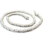 Solid Sterling Silver Byzantine Necklace 24""