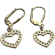 Sterling Silver /Gold Vermeil Open Heart CZ Pierced Dangle Earrings