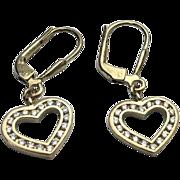 Sterling Silver /Gold Vermeil Open Heart CZ Pierced Dangle Earrings